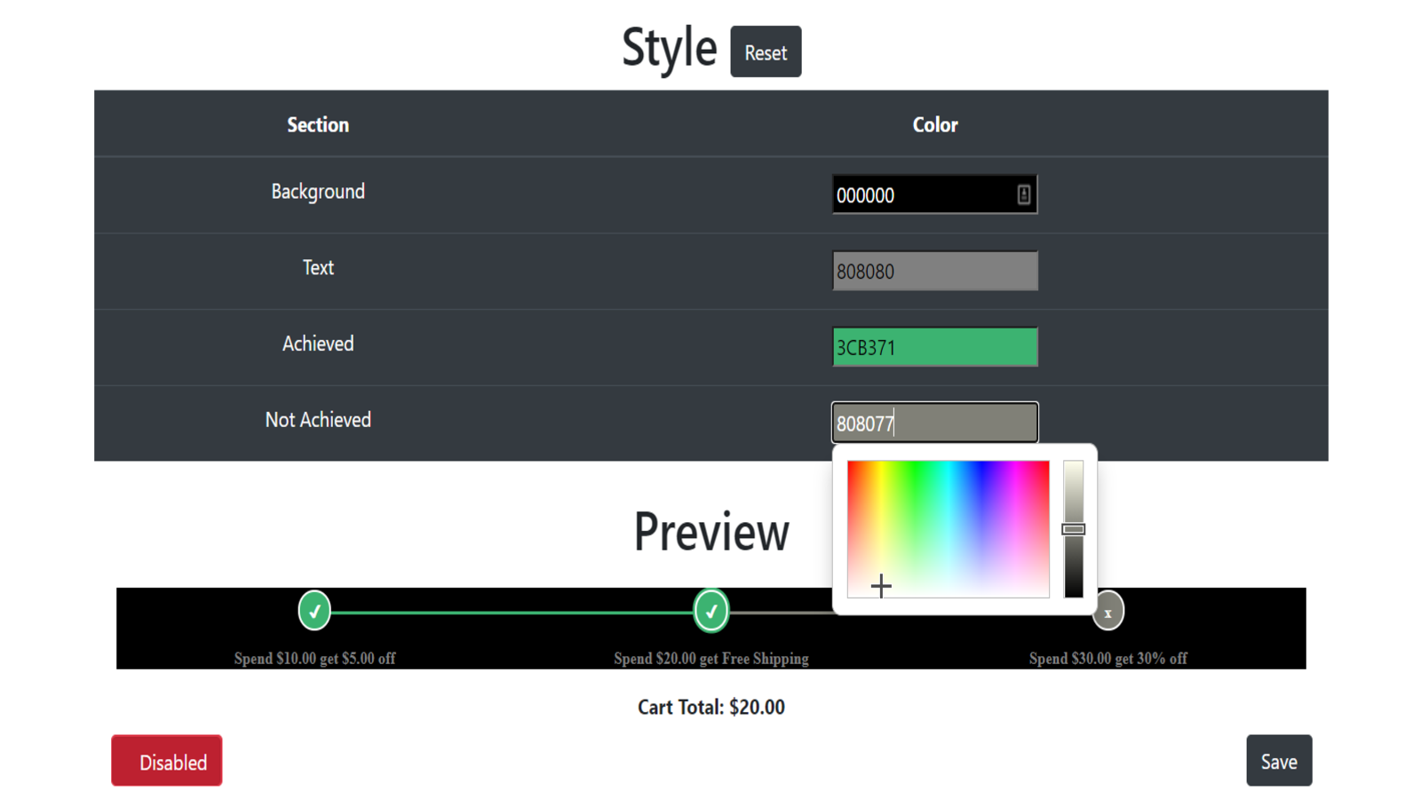 Customize the color scheme to fit any store.