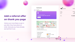 Post Purchase Viral Referrals: Referral widget in thank you page