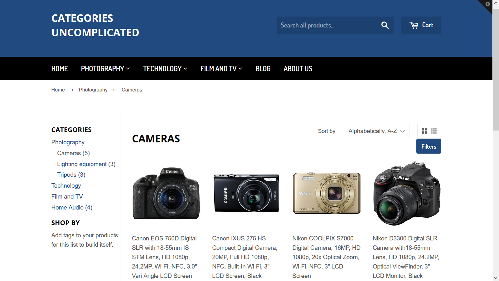 Current category selected in category list on collection pages