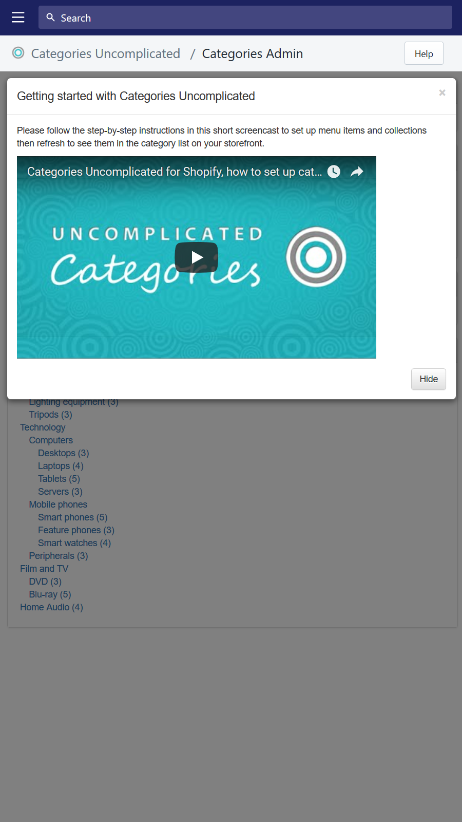 Screencast to help you get set up with categories