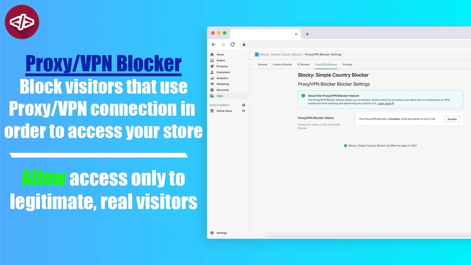 The dashboard of the Proxy VPN blocker feature