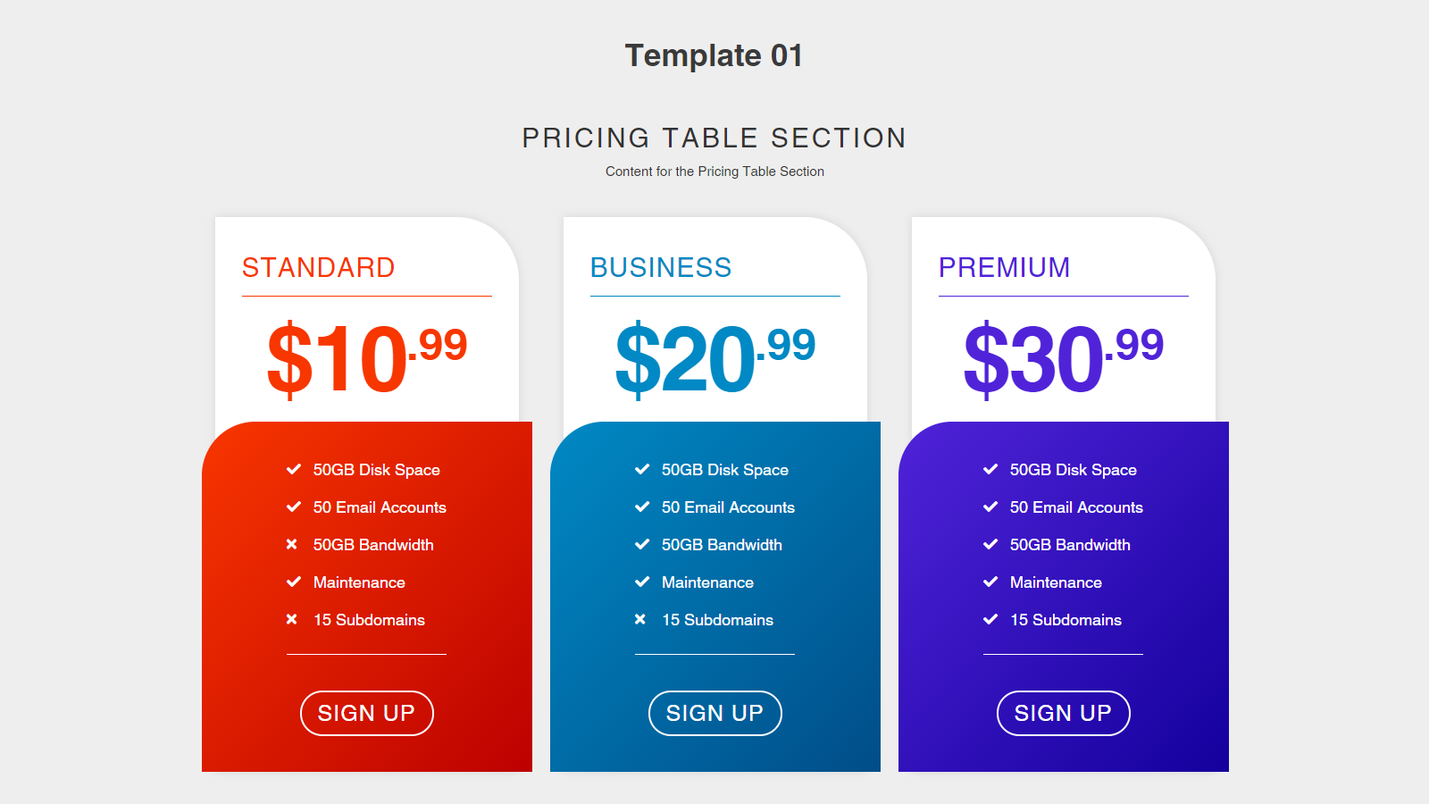 Pricing Table 01