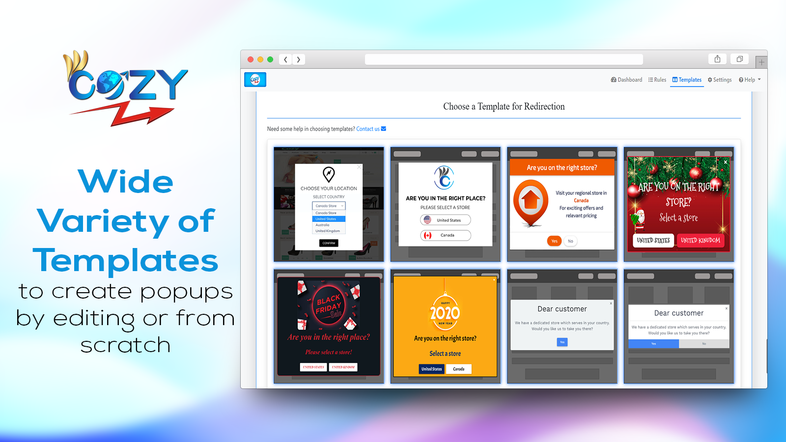 Variety of Smart Popup and Bar GEO location themes or templates
