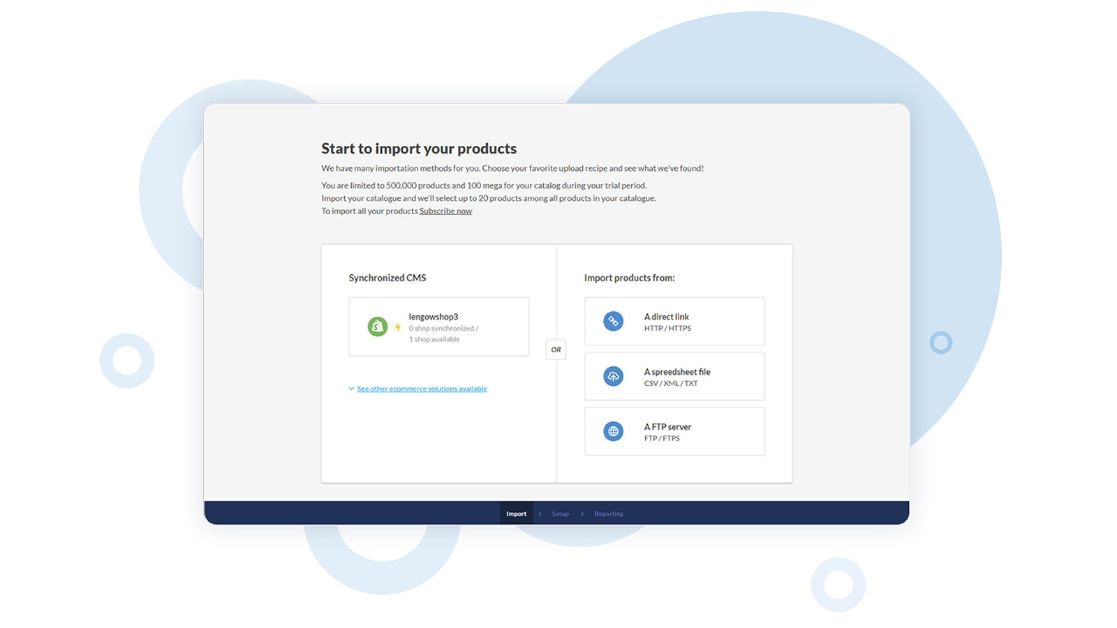 Import your products