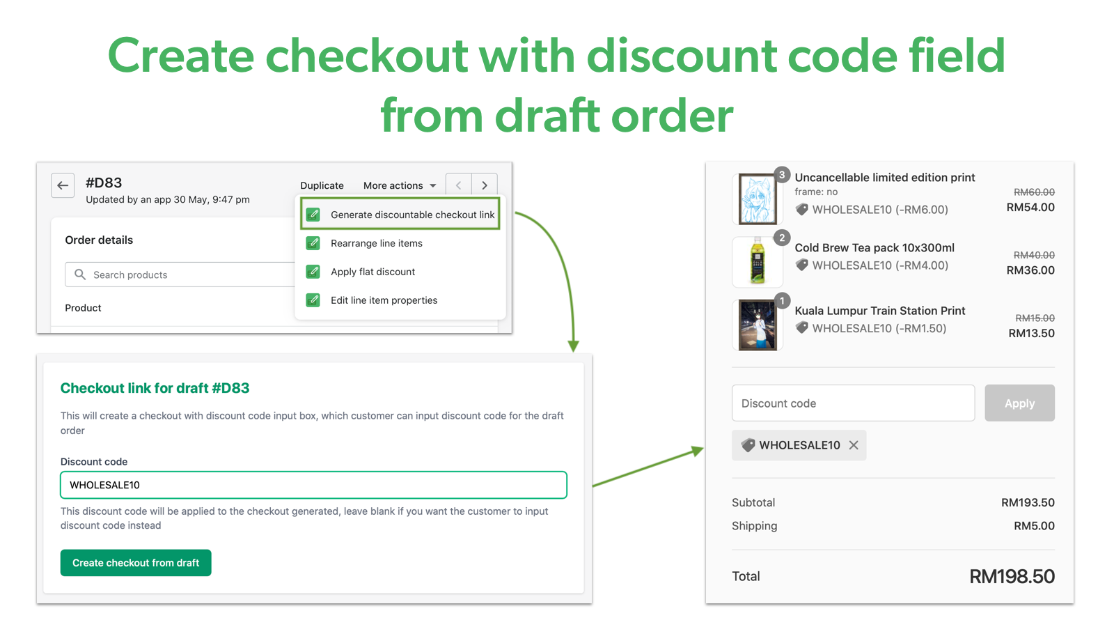 Create checkout with discount code from draft order