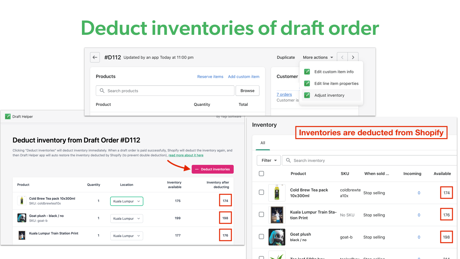 Deduct inventories of draft order