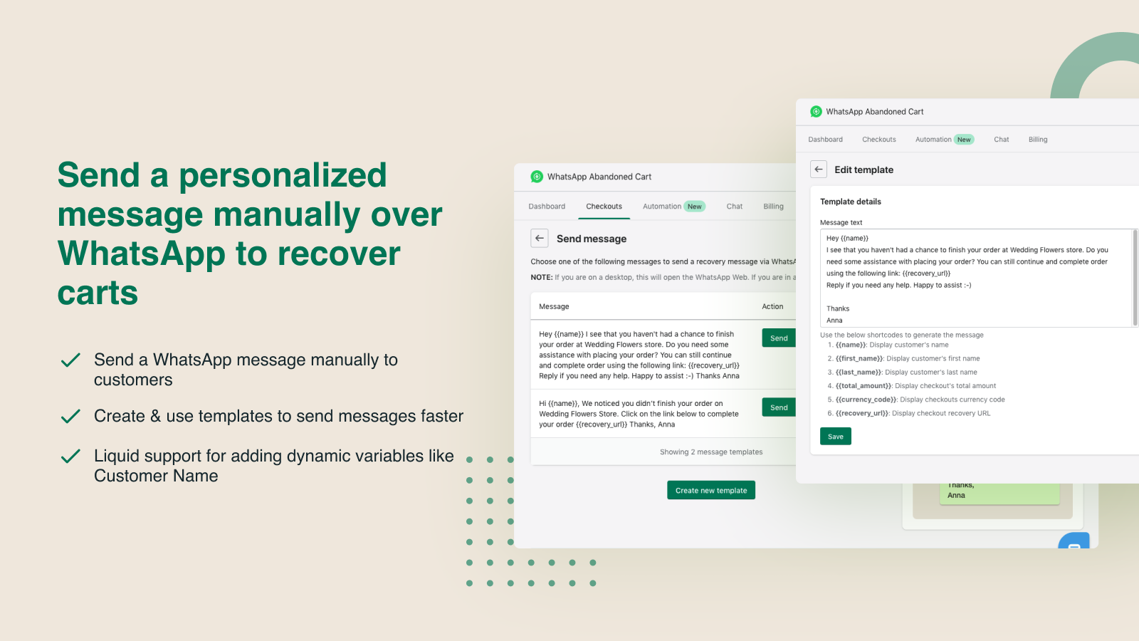 Send personalised WhatsApp messages to recover carts manually