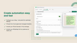 Automated WhatsApp messages to recover carts. Send coupon codes