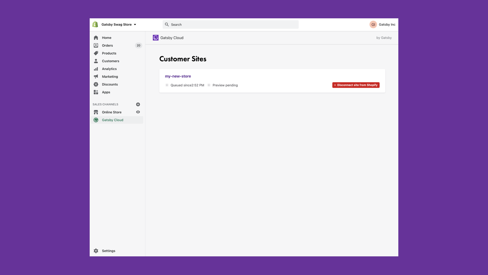 View site and build status from within Shopify