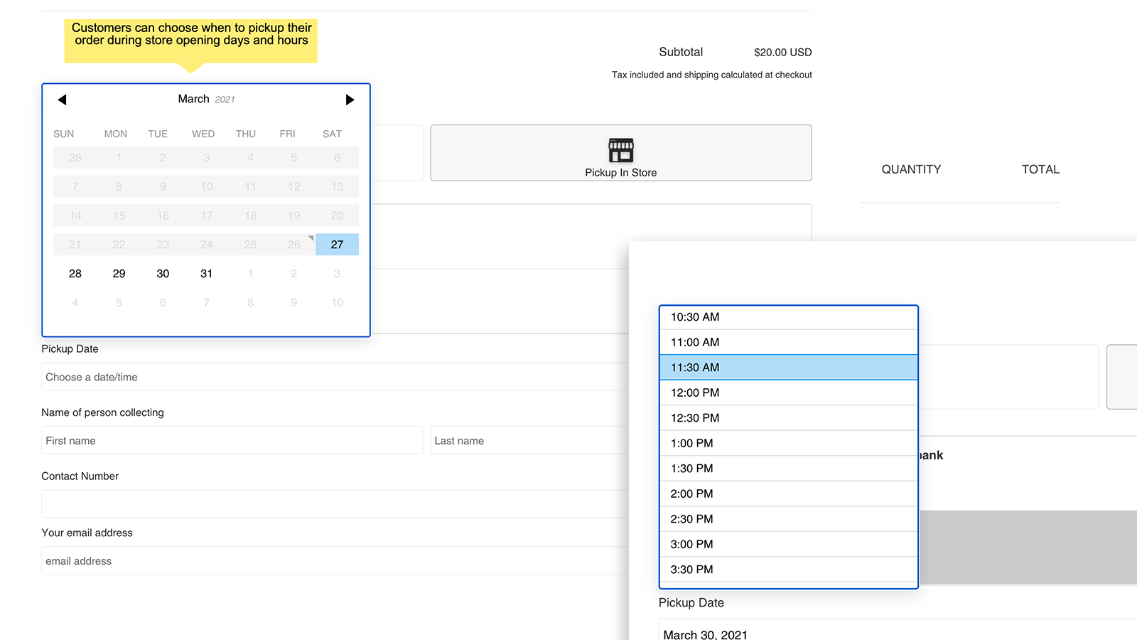 store pickup click and collect date and time picker