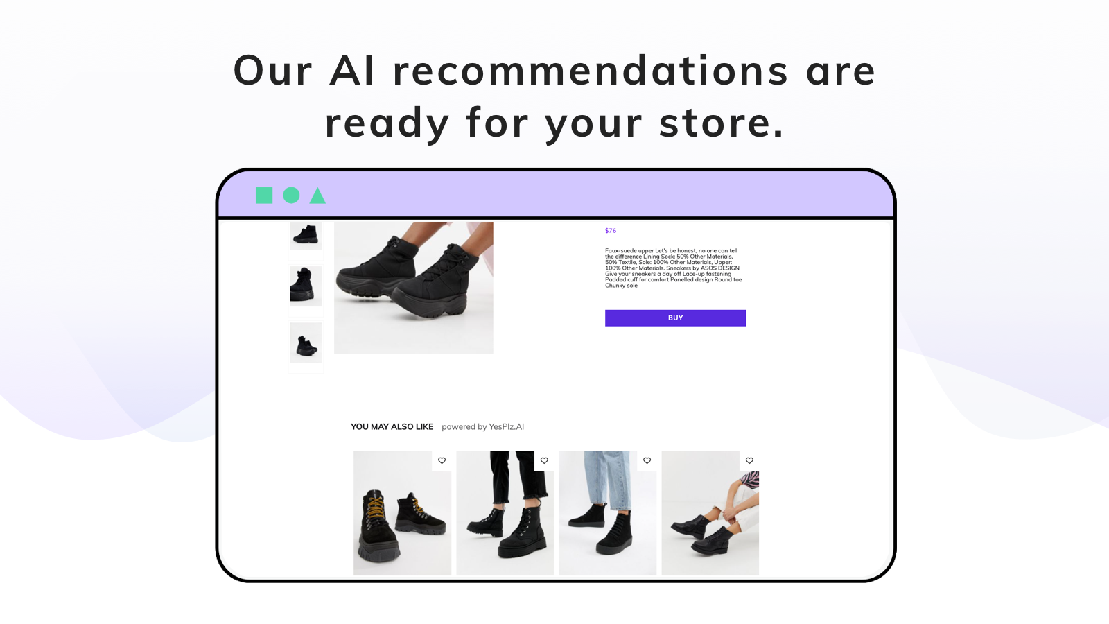 upsell recommendation results shoes