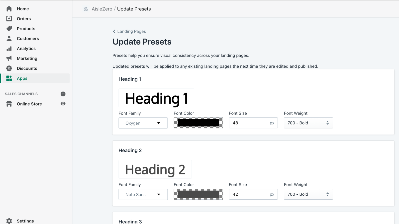 Configure presets to ensure that every page is on-brand