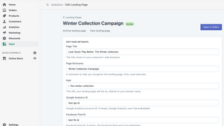 Configure landing page titles and tracking pixels
