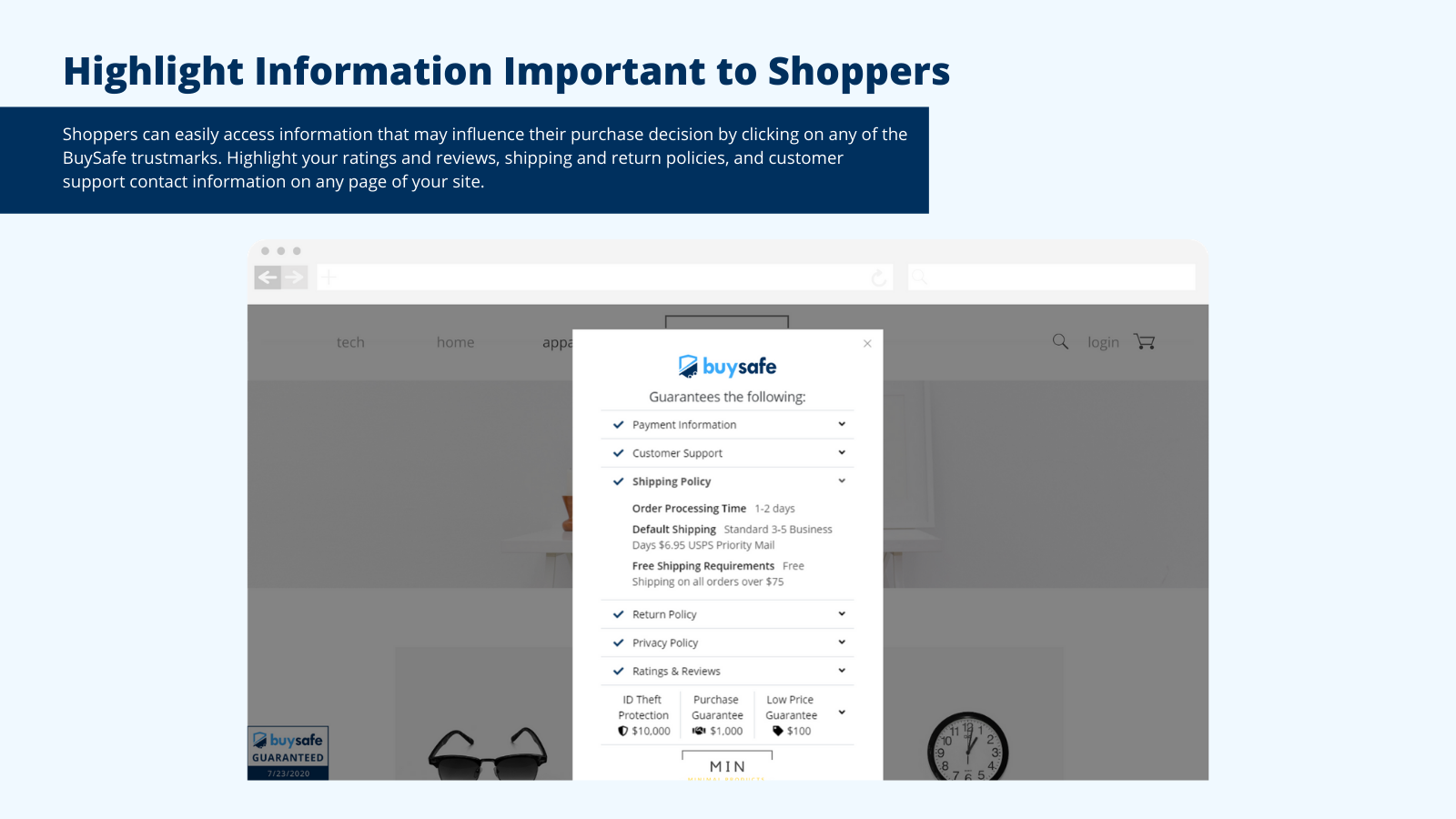 Highlight information important to shoppers