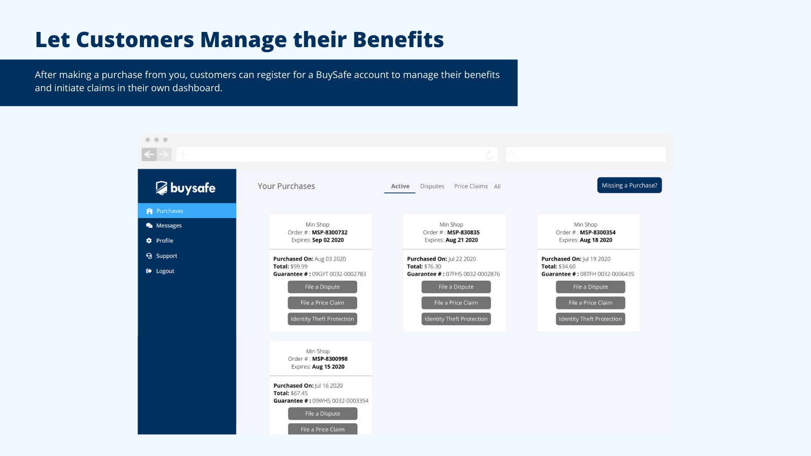 Shoppers can manage their BuySafe benefits in a dashboard