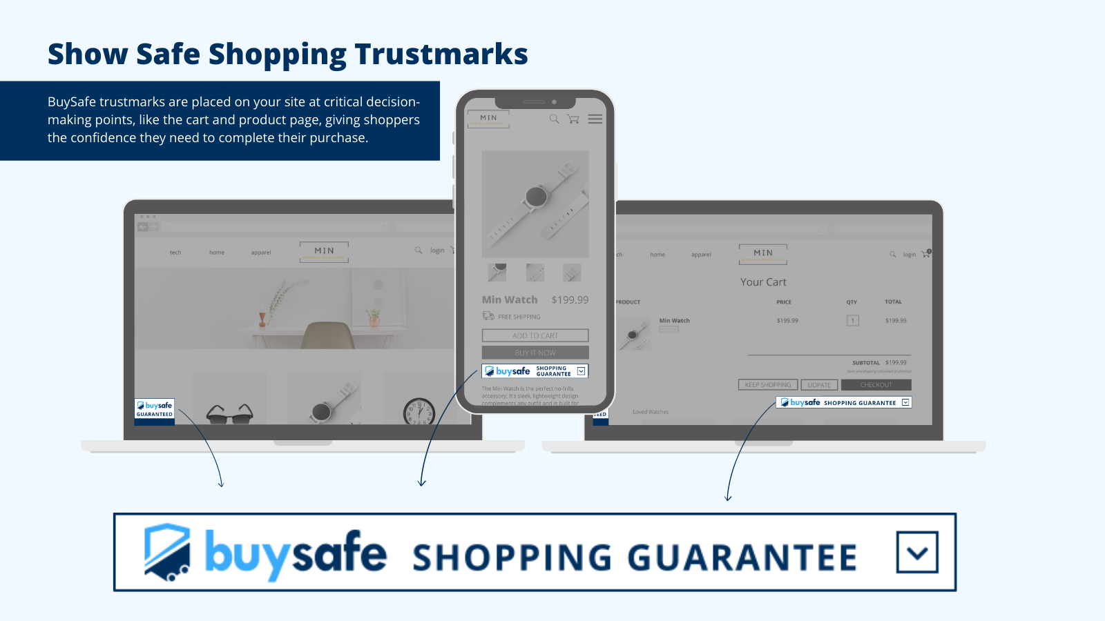 Show safe shopping trustmarks to your store visitors