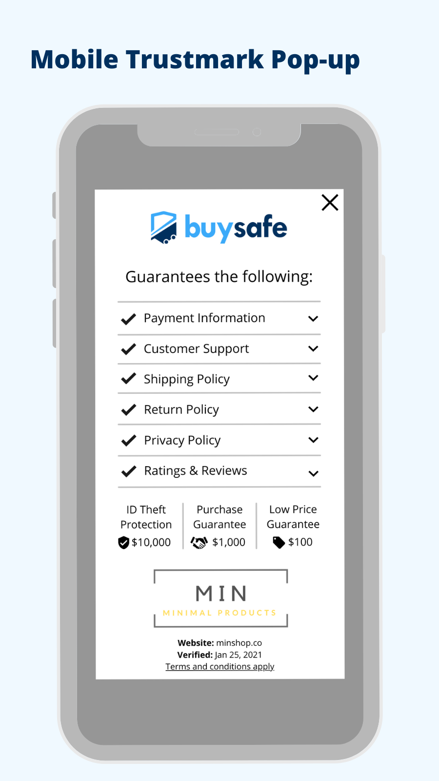Store information highlighted in a mobile-friendly pop-up