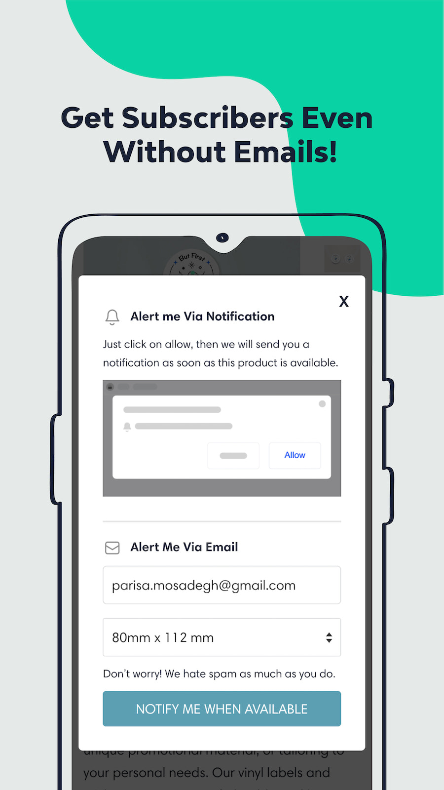 Grow your mailing list with back in stock emails