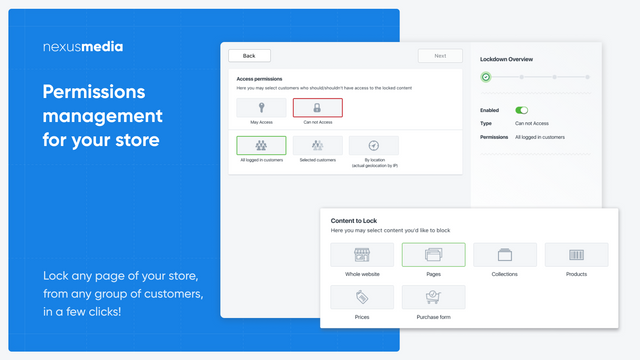 Permissions management for your store, login to view price