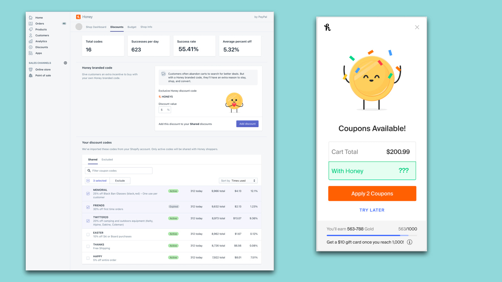 Manage discount codes that appear in the Honey Extension.