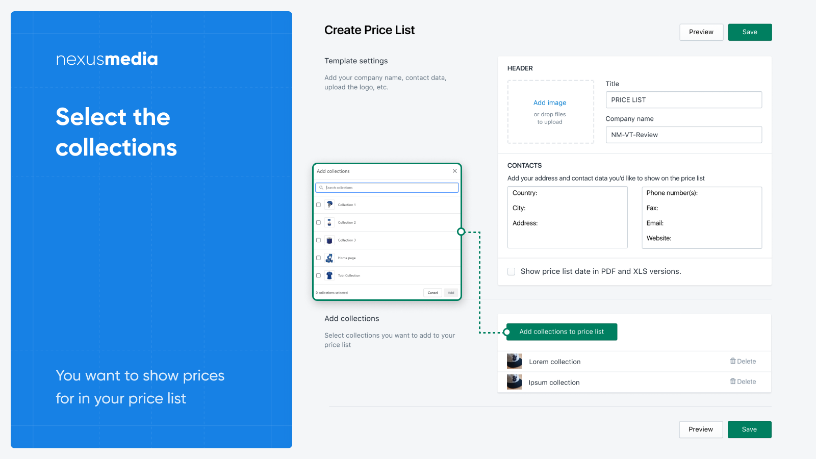 Add items to your pricelist