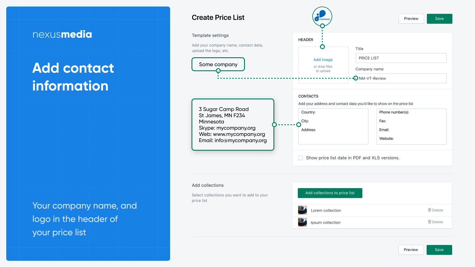 Add contact and company info to the price list
