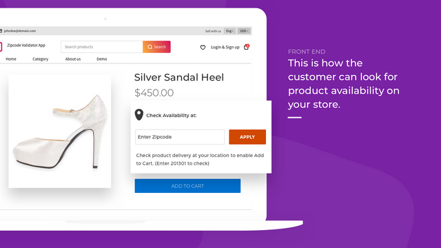 zipcode search on product page
