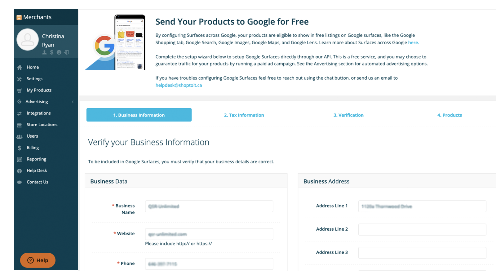 Use our simple wizard to configure free Google product listings