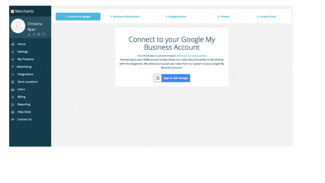 Connect to your Google My Business listing to optimize for local