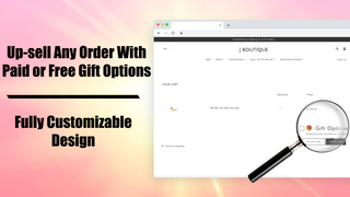 The app in action: The added Gift Options checkbox in the cart