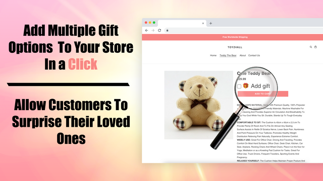 The app in action: The added Gift Options in a product page