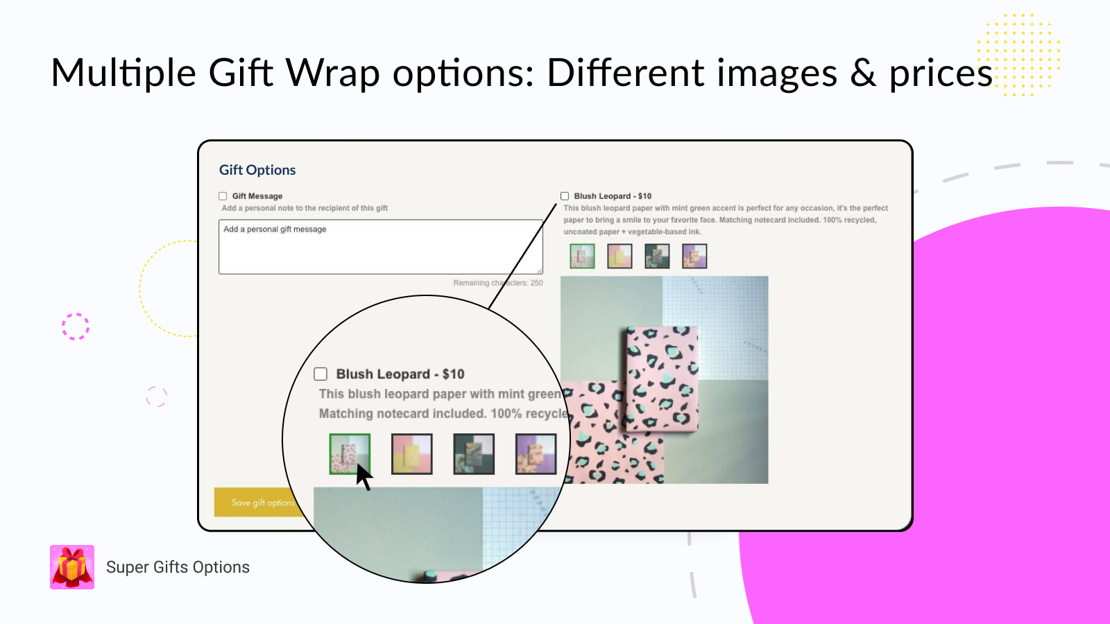 Multiple gift wrap options in different prices and images