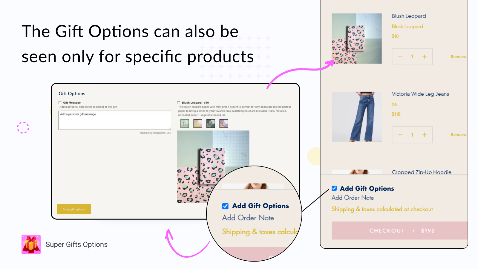 Show the gift options only for selected specific products