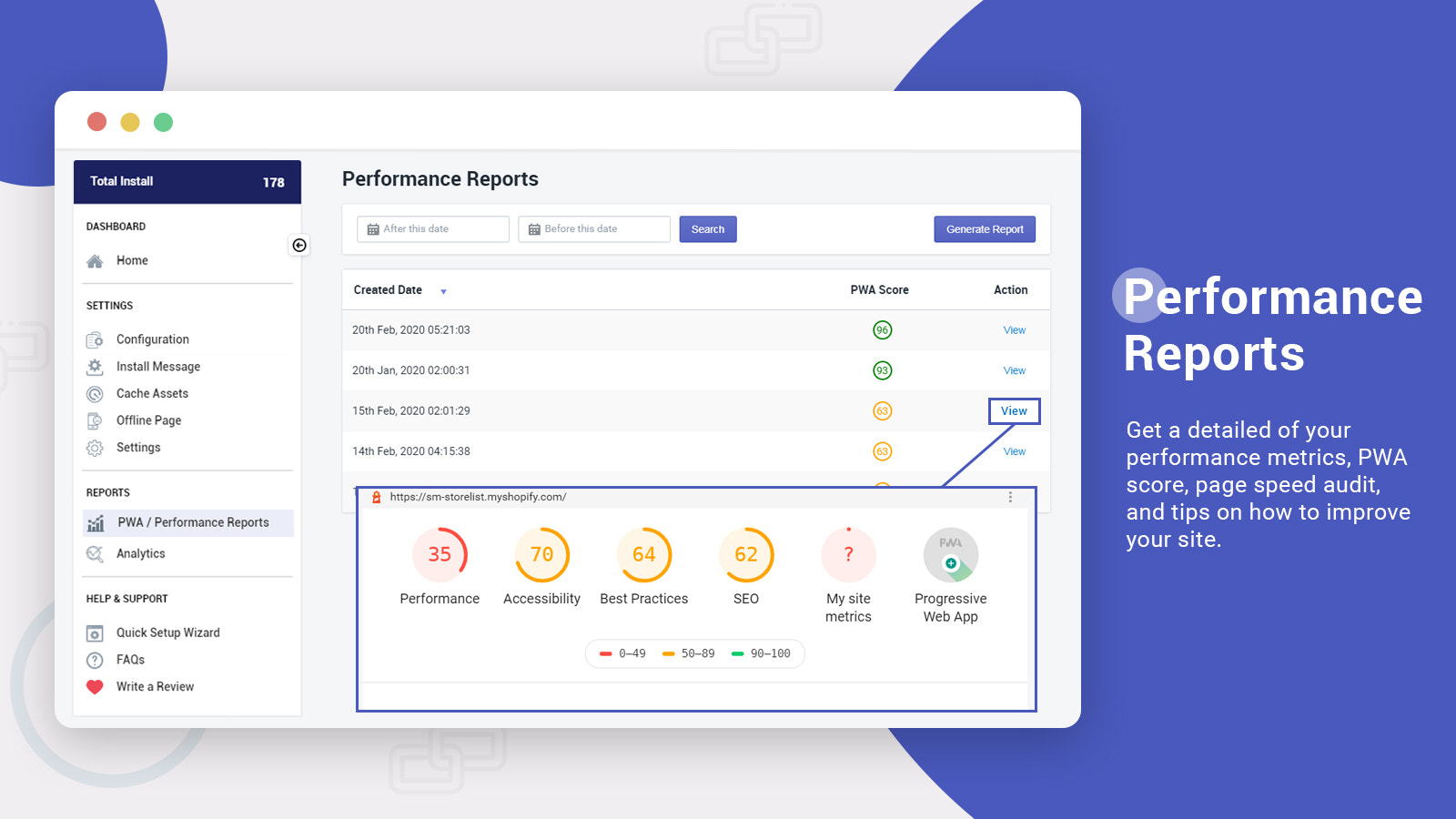detailed speed report for performance, audit tips, etc.