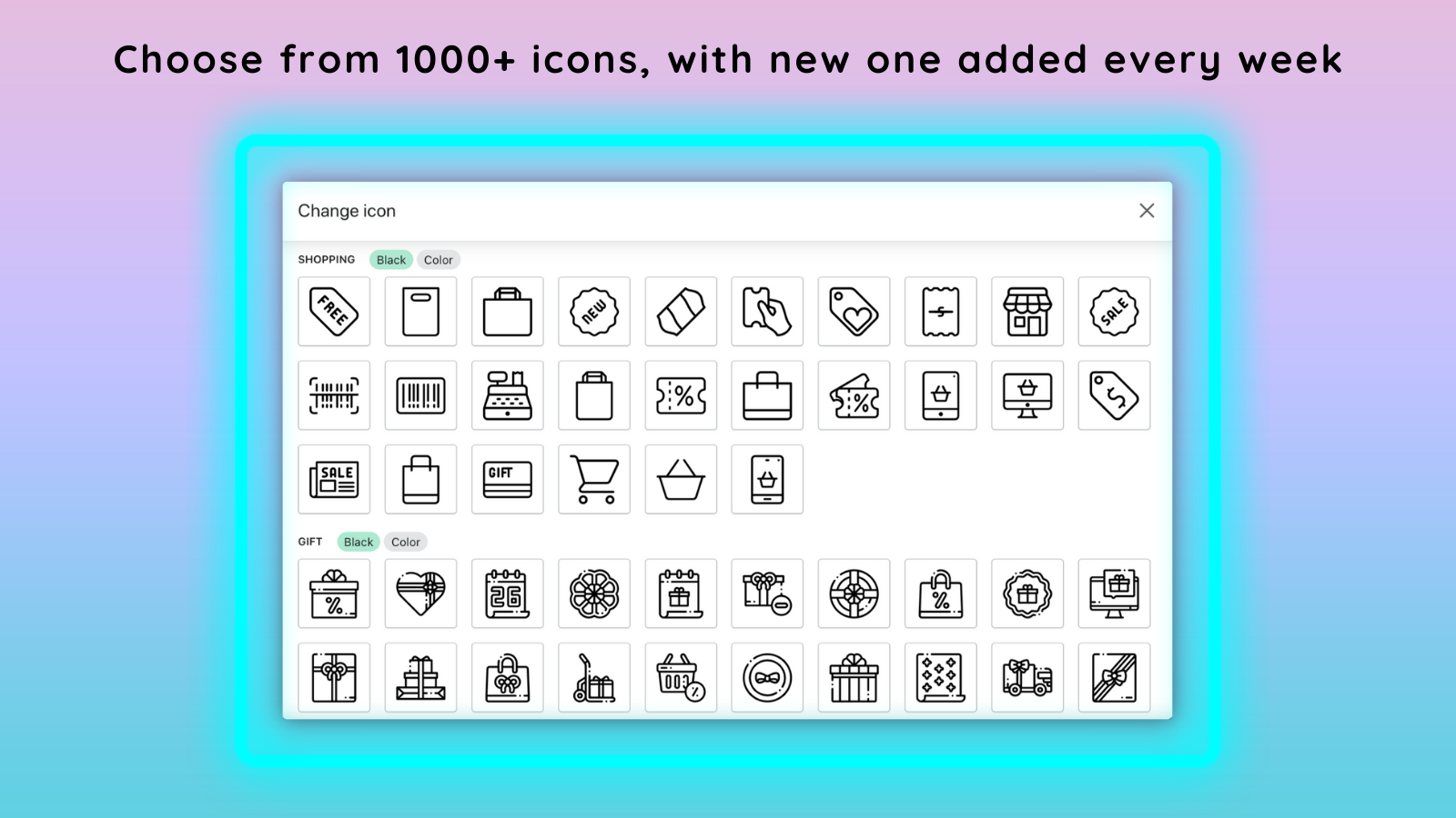 1000+ icons library