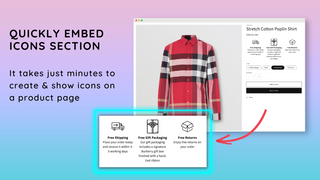 Quickly embed icons section
