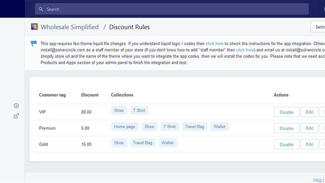 List of wholesale discount rules in app backend