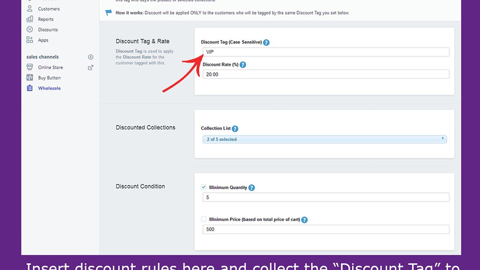 Creating wholesale discount rule in app backend (showing custome