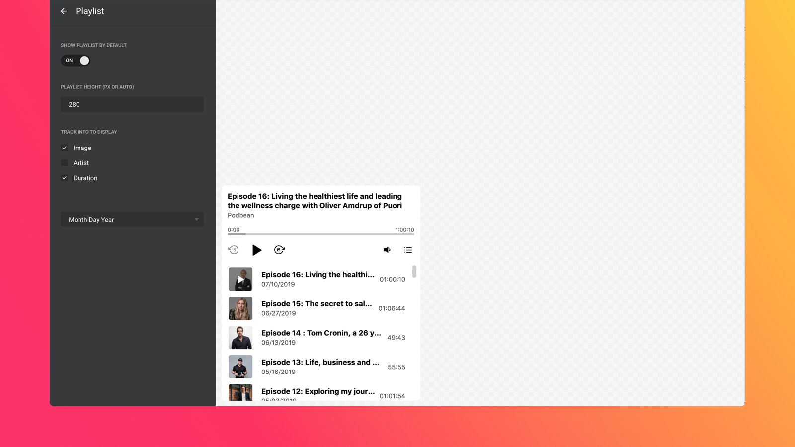 Show the playlist by default or hide it to give users control