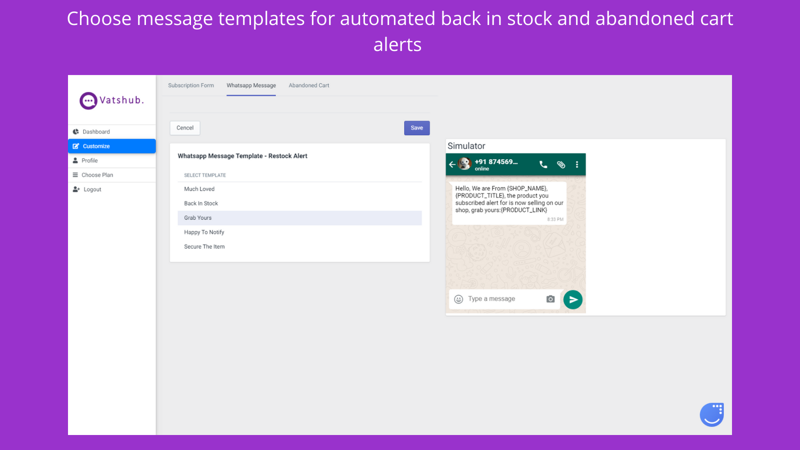 Choose message templates for automated alerts