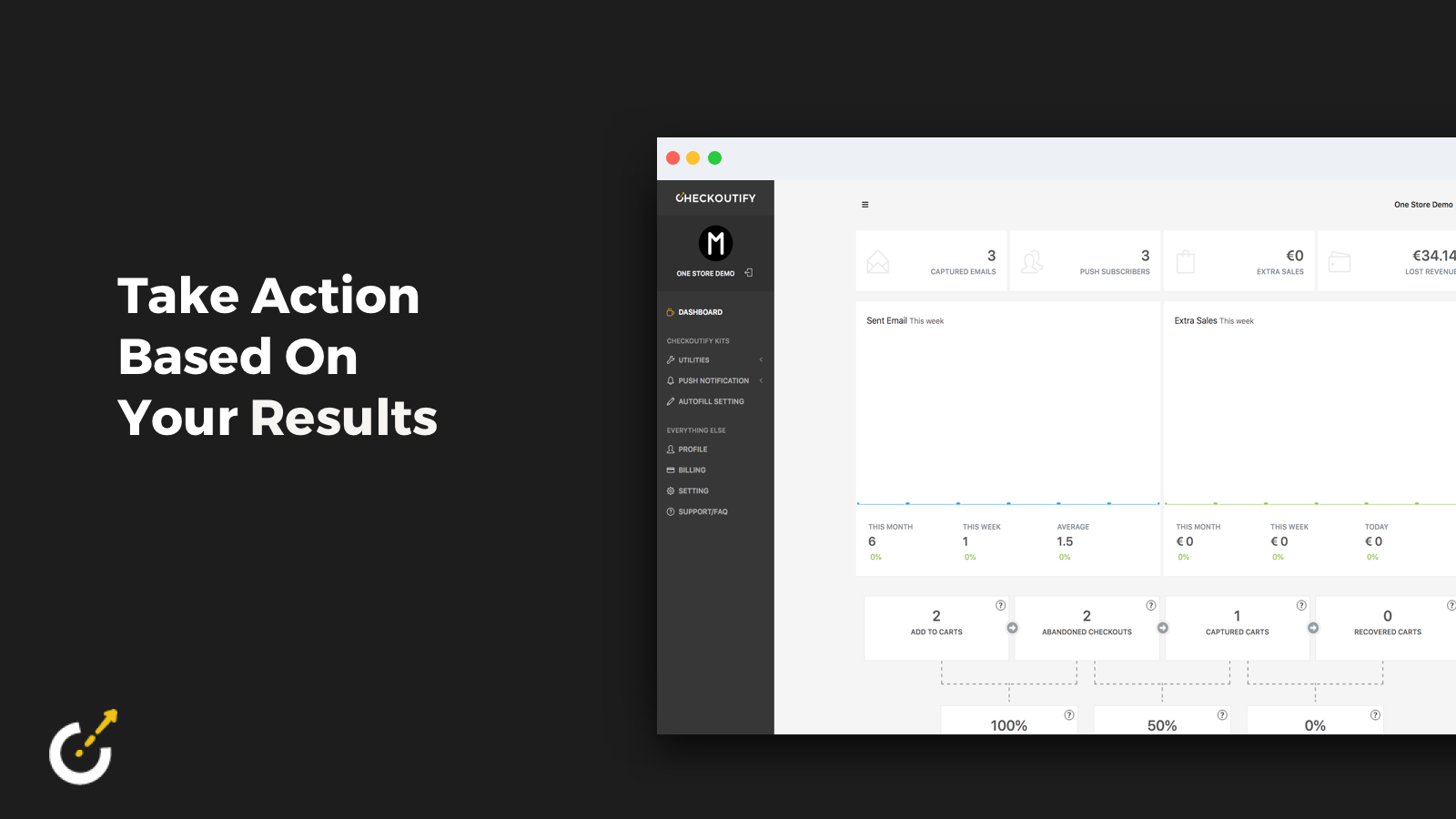 Checkoutify Dashboard with in-depth analytics on abandoned carts