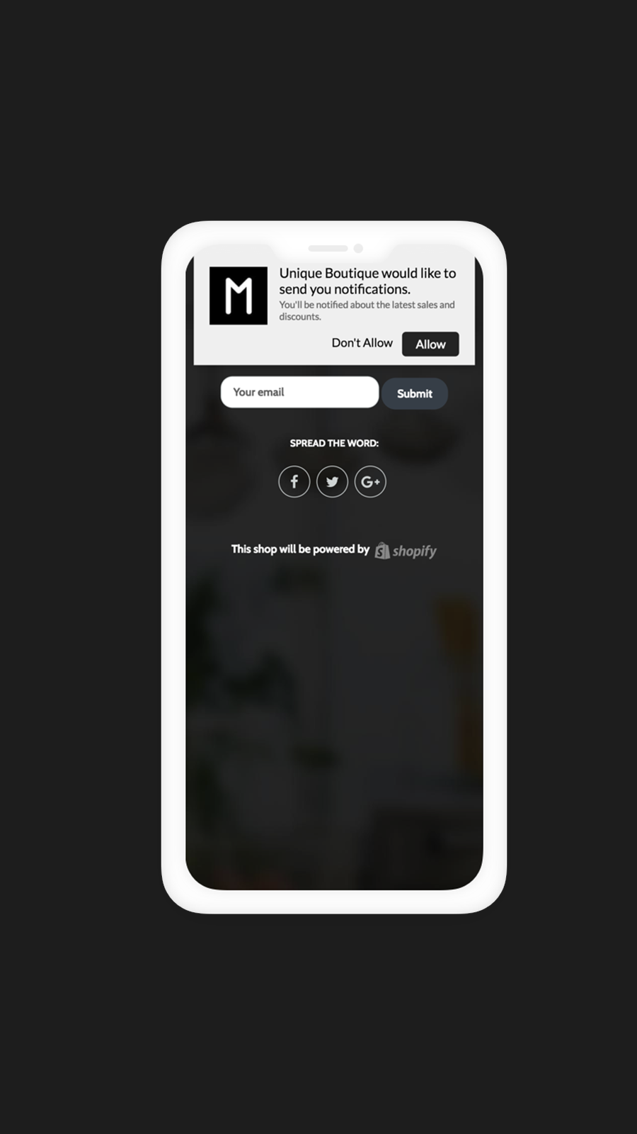 Push Notification Frontend Example on Mobile Devices