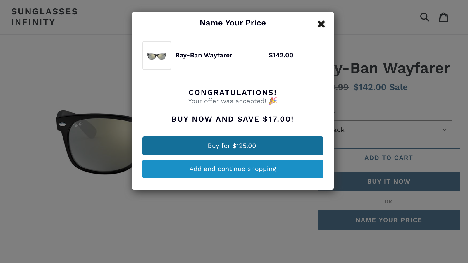 An offer within your price range is automatically accepted