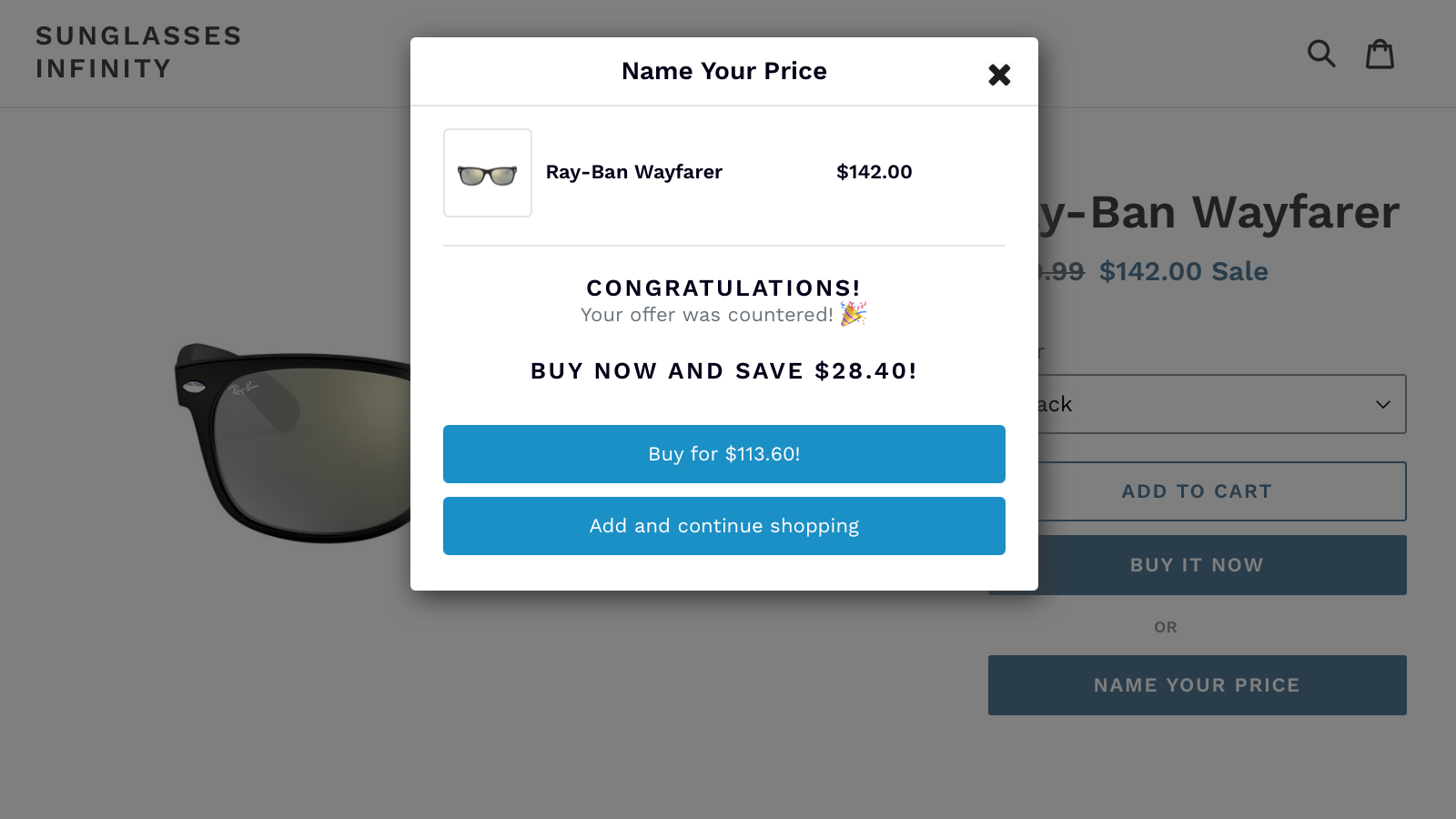A lower offer will be countered up to your acceptable price