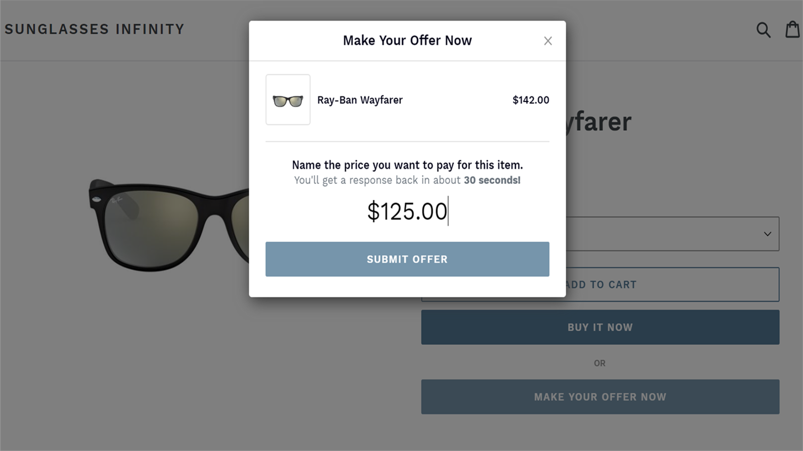 Enable shoppers to make a price offer to keep them on your store