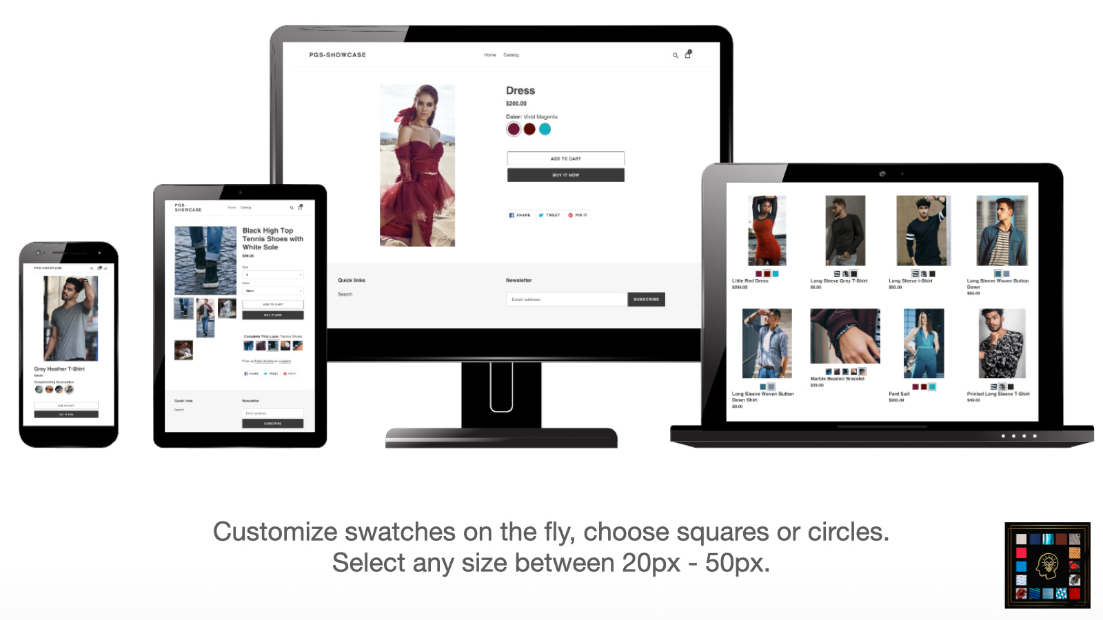 Swatch Container Easily Moved To Any Location On Product Page.