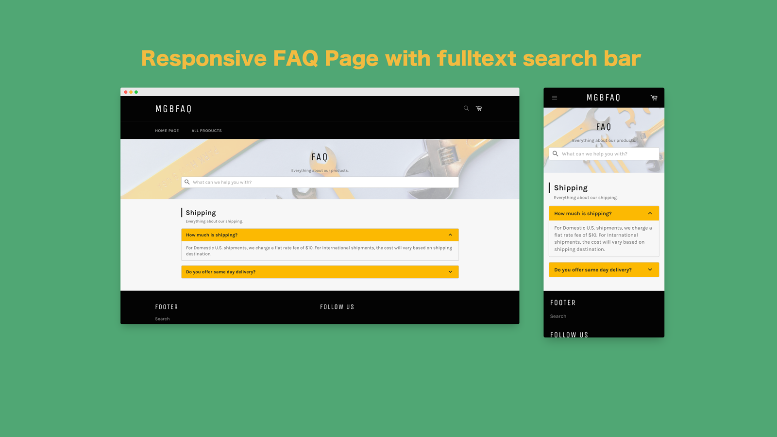Responsive FAQ Page with fast fulltext search bar