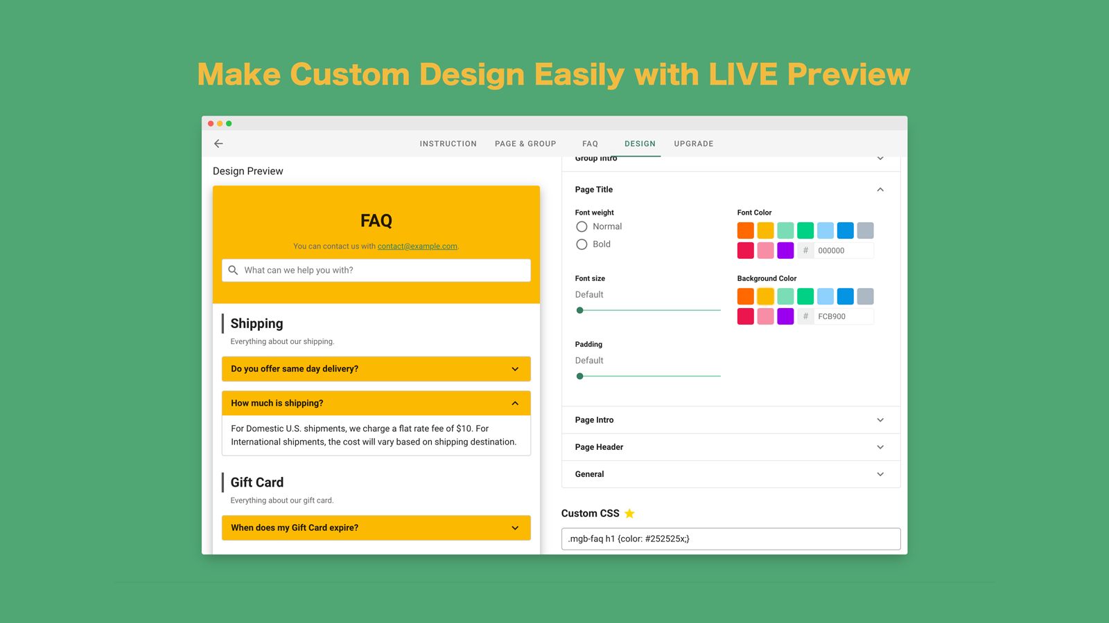 Custom Design FAQ with LIVE preview easily friendly quickly