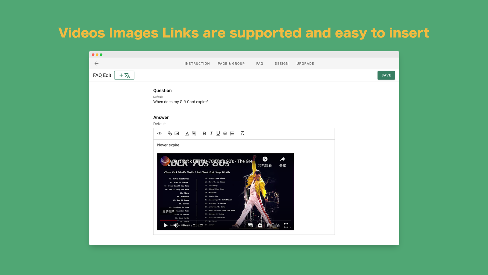 Support images youtube videos rich media custom CSS HTML code