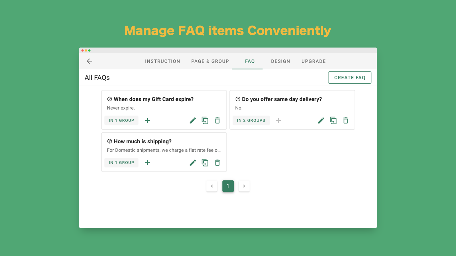 Manage FAQs Groups and FAQ Page